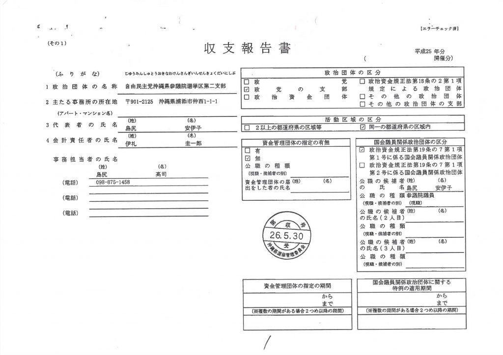 島尻安伊子沖縄担当大臣の政治資金収支報告書