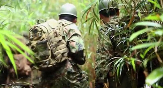 藪の中を分け入る戦闘訓練。顔や所属は見えないが自衛隊員だと思われる。(米軍の広報サイト DVIDSより)