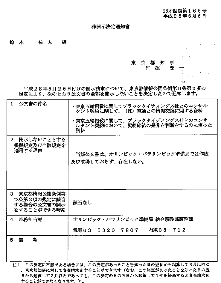 東京都から届いた非公開決定書