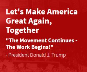 トランプ大統領のキャッチコピー(ホワイトハウスHPより)