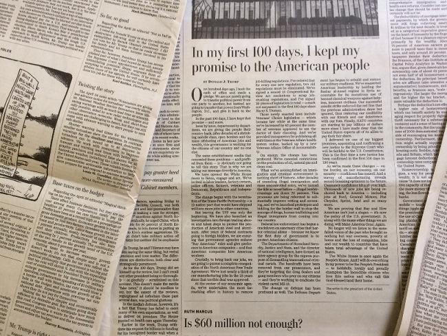 トランプ大統領が寄稿した文章(ワシントンポスト紙4月30日)