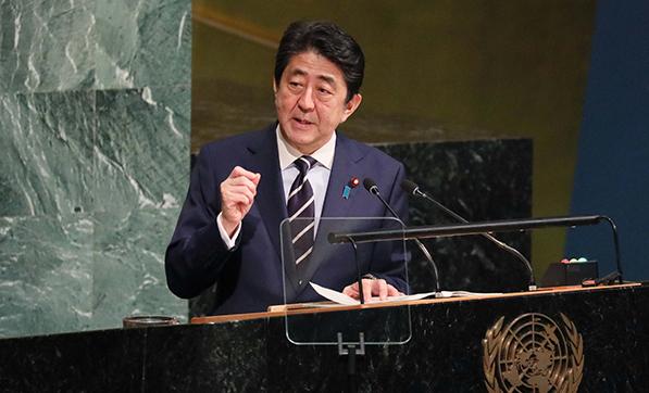 国連で演説する安倍総理(9月20日 現地米国東部時間)官邸HPから