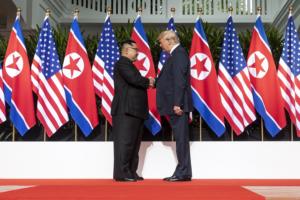 トランプアメリカ大統領と金正恩北朝鮮労働党委員長の会見 シンガポールにて
