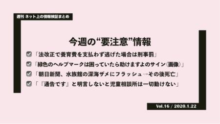 《週刊》ネット上の情報検証まとめ(Vol.16/2020.1.22)