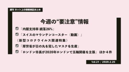《週刊》ネット上の情報検証まとめ(Vol.21/2020.2.26)