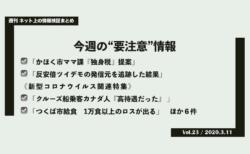 《週刊》ネット上の情報検証まとめ(Vol.23/2020.3.11)