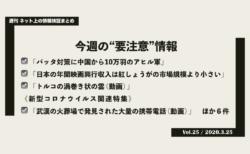 《週刊》ネット上の情報検証まとめ(Vol.25/2020.3.25)