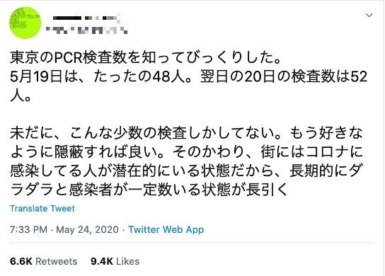 [新型コロナFactCheck] 東京のPCR検査数 「5月19日はたった48人」は誤情報 実際は「975人」