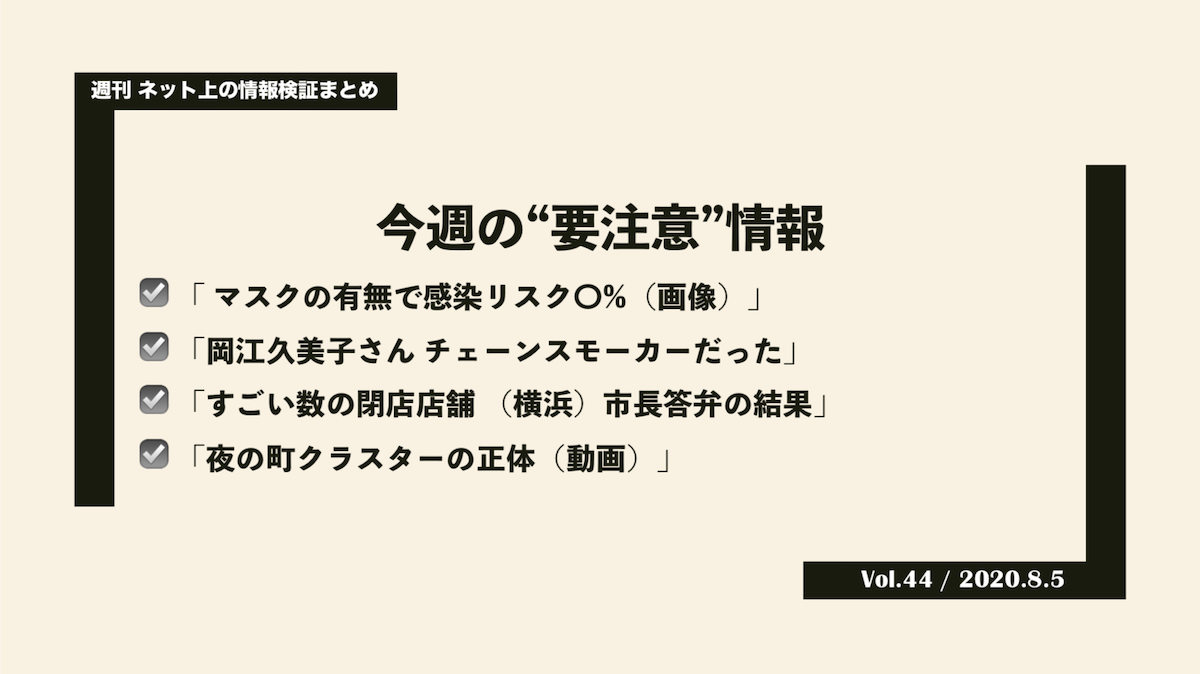 《週刊》ネット上の情報検証まとめ(Vol.44/2020.8.5)