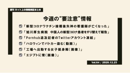 《週刊》ネット上の情報検証まとめ(Vol.64/2020.12.25)