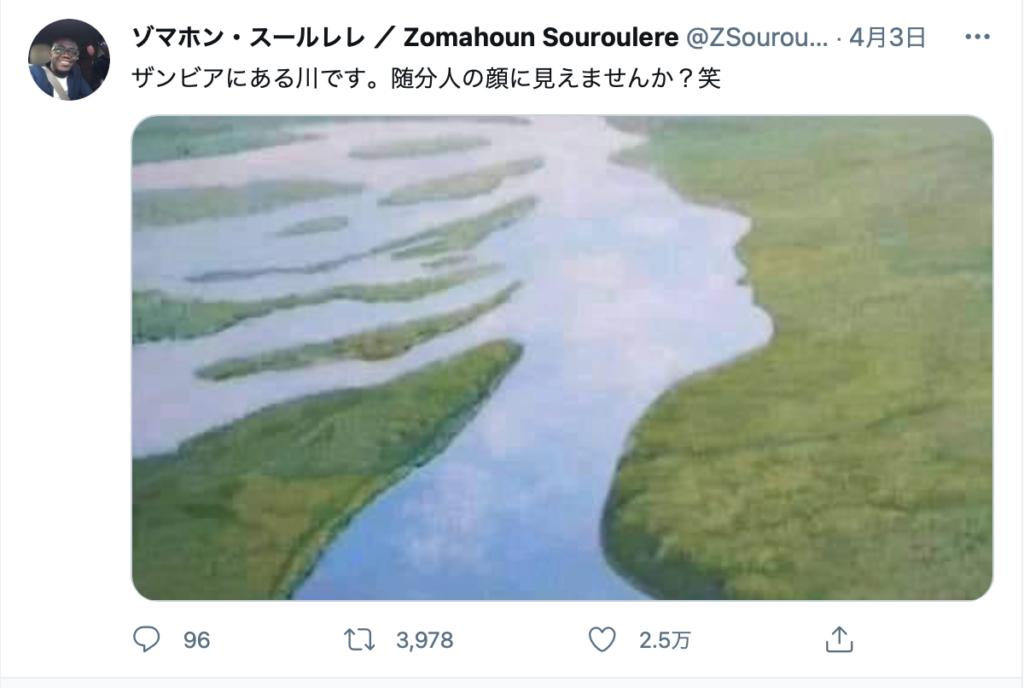 [FactCheck] ザンビアにある川が顔の形のようだと拡散。しかし、写真でなく絵だ。